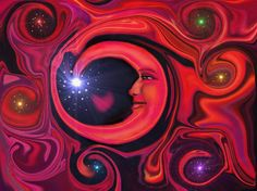 Red Moon at Night - Chakra Art Wall Decor Moon Abstract Energy Art by primalpainter, $20.00