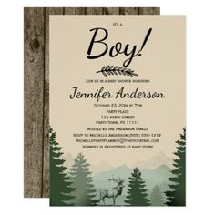 Forest Mountain Pine Country Bear Boy Baby Shower Invitation This baby shower invitation features pine trees, mountains, a bear and a rustic wood background. Created for a boy baby shower, this invitation is sure to impress your guests. Baby Shower Invitation Cards, Baby Shower Invitations For Boys, Baby Shower Cards, Baby Boy Shower, Invitation Ideas, Wood Invitation, Shower Party, Baby Shower Parties, Baby Showers