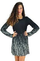 Womens Long Sleeved Black Forest Print Tunic Dress Winter Dress