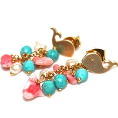 Gold Whale Earrings Coral Turquoise Freshwater Pearl Clusters ._______. Whale.