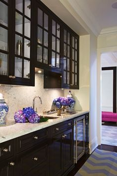 McGill Design Group: Amazing butler's pantry opens into chic foyer. Butler's pantry with glossy espresso ...