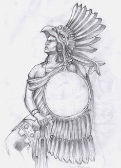 aztec warrior by theegas traditional art drawings people 2011 2015 . Arte Cholo, Cholo Art, Chicano Art, Pretty Drawings, Art Drawings, Drawing Faces, Aztec Warrior Tattoo, Warrior Symbols, Aztec Drawing