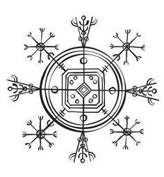 """El símbolo que veis en la imagen se conoce como Hulinhjálmur (podéis escuchar cómo se pronuncia aquí), y su traducción literal es """"yelmo de disfraz""""; su uso es el de hacer invisible al portador y se cree que se grababa en los yelmos para obtener tal propósito."""