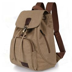 Women's Casual Capacious Canvas Backpack without Pattern Price: 29.00 & FREE Shipping #online #shopping #market #electronics4 #pets #fitness #home #personal #beauty #bags #mobile #camera #jewellery #car #books #toys #kids #fashion Ladies School Bag, School Bags, School Handbags, Sling Backpack Purse, Leather Backpack, Preppy Backpack, Bucket Backpack, Backpack Outfit, Laptop Backpack