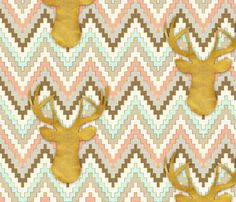 Chevron and Deer fabric by sparrowsong on Spoonflower - custom fabric.  www.astralriles.com #ReDesign #ReInvent #ReLive