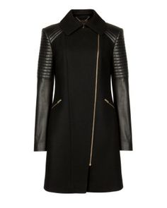 Ted Baker Quilted leather sleeve coat