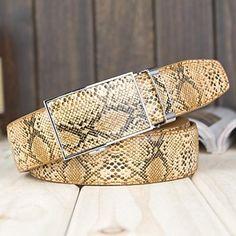 Mens Vintage Snake Skin Style Leather Belt (2 Colours)