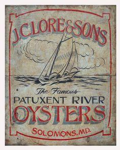 JC Lore vintage Oyster print, Chesapeake Bay