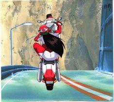 "Tatsuya Egawa's Golden Boy Anime Cel REIKO (Biker Babe) Wheel Stand On ""BIMOTA""   #1824190861 Anime Motorcycle, Sakura Quest, Mermaid Tattoos, Cool Animations, Illustrations And Posters, Me Me Me Anime, My Images, Anime Characters, Character Art"