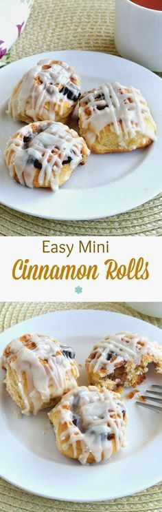 Easy Mini Cinnamon Rolls are precious little treats that will almost melt in your mouth. Easy to make using a pre-packaged crescent favorite. Brunch too! ~ http://veganinthefreezer.com