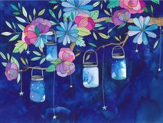 Fireflies Canvas Art Print by Ana Victoria Calderón Canvas Art Prints, Painting Prints, Canvas Wall Art, Watercolor Paintings, Canvas Paper, Watercolors, Ink Illustrations, Illustration Art, Firefly Painting