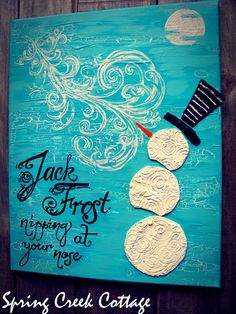 Jack Frost, Whimsical Hand-painted Snowman, Canvas Art, in Icy-blue