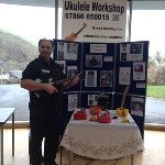 Me at exhibition Hen Nights, North Devon, Guitar Lessons, Ukulele, Live Music, Corporate Events, Picture Video, Workshop, Wedding