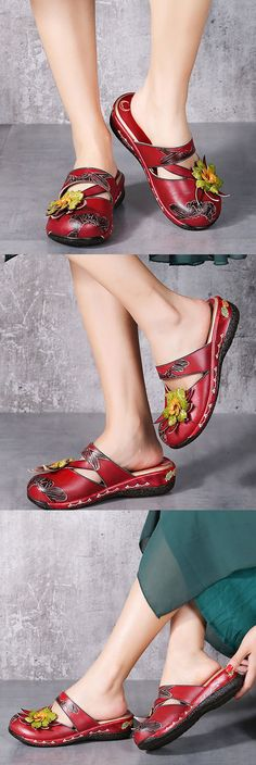 US$52.68 Socofy Flower Hollow Out Backless Strappy Flat Leather Shoes
