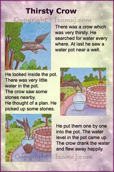 Stories: Thirsty Crow - -Moral Stories: Thirsty Crow - - The Owl And The Grasshopper Stories With Moral Lessons, English Moral Stories, Short Moral Stories, English Stories For Kids, English Worksheets For Kids, English Lessons For Kids, English Story, Kids English, English Reading