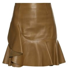 Alexander McQueen Asymmetric ruffled leather mini skirt (£538) ❤ liked on Polyvore featuring skirts, mini skirts, brown leather mini skirt, alexander mcqueen, real leather skirt, brown skirt and short leather skirt