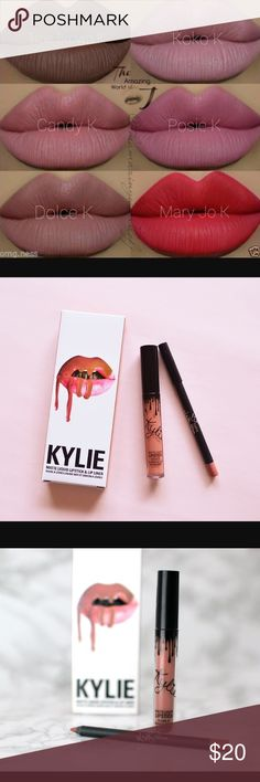 Candy K lip kit...Kylie Candy K lip kit with matte lipstick & liner...kit is sold at a lesser price because I purchased it as a resale from another seller. No receipt to prove if it's authentic. Makeup Lipstick