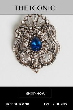 Vintage Classic Brooch Blue Crystals, Stones And Crystals, Rose Gold Wedding Jewelry, Blue And Silver, Bronze, Jewels, Classic, Vintage, Derby