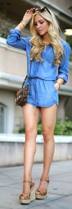 Chambray Romper Ladies bag and shoes