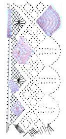 foto 7: fotomontaje sobre esquema-picado puntilla de encaje de bolillos número 1 de pie, torchones, milano o araña, punto de red, pluma y trenza de 4 cabos
