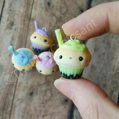 TheClayCroissant inspired bubble tea cupcake