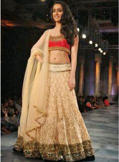 Shraddha Kapoor Cream #Lehenga_Choli At Mijwan Fashion Show 2012