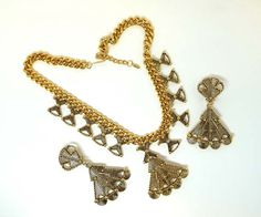 Buy Egyptian / Mayan Style Demi Parure - Vintage Barrera Signed Necklace & Earring Set by thejewelseeker. Explore more products on http://thejewelseeker.etsy.com
