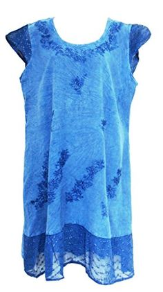 Lace Trim Cap Sleeve Embroidered DressIndigoMED * Click on the image for additional details.