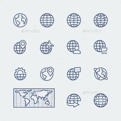 Earth Planet, Globe Vector Icons Set — Photoshop PSD #vector #fly • Available here → https://graphicriver.net/item/earth-planet-globe-vector-icons-set/11687282?ref=pxcr