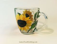 Yellow Sunflower Hand Painted Glass Mug by LemonTreeWorkshop
