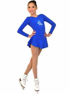 ChloeNoel Royal Blue Long Sleeve Fleece Dress w/ Crystals Style: ChloeNoel royal blue long sleeve fleece dress Crystal ice skates design on chest polyester; Skate Wear, Royal Blue, How To Make, How To Wear, Rompers, Crystals, Long Sleeve, Sleeves, Dresses