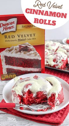 These Red Velvet Cake Mix Cinnamon Rolls are going to blow your mind! They are so delicious, so decadent, so opulent. Plus, they are the perfect treat for Valentine' Day. Köstliche Desserts, Delicious Desserts, Dessert Recipes, Health Desserts, Cinnamon Cake, Cinnamon Rolls, Beignets, Yummy Treats, Sweet Treats