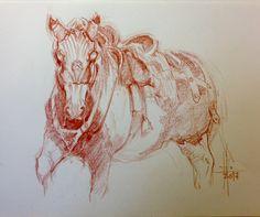 Dibujo caballo con armadura por Francisco Javier Abellán