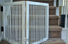 DIY Baby Gate for Stairs - All Things Heart and Home I think this is the solution to my five foot wide staircase!