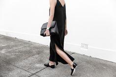 slip dress, street style, silk, black, mansur gavriel bag, satchel, cut out loafers, modern legacy, fashion blogger