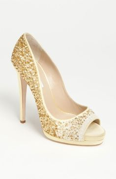 White and Gold Wedding Shoes. Sparkly Glitter Heels. Bride Shoes. Gold Wedding Shoes