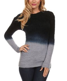 Look at this UNI Fashion Black Tie Dye Fade Sweater - Women on #zulily today!