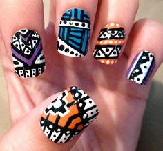 TriColor Aztec Fake Nails by CompulsiveNails on Etsy