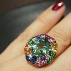 The snow id back in Paris and winter does not want to leave so we need this colorful Tutti Frutti ring by @lassaussoisjoaillier to warm up. Central stone is 4.74 cts green #tourmaline set in 18k white gold surrounded by #diamonds, amethysts, sapphires( blue, orange, pink and yellow), tsavorites and rubelites. Yummy doesn't it? Bon appétit #blissfromparis