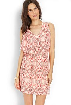 Love 21 - A sleeveless woven dress featuring an abstract print and flutter bib yoke. . Elasticized...