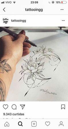 Tattoo hip moon tatoo Ideen - Tattoos that I love - Tattoos Tattoo P, Sternum Tattoo, Mandala Tattoo, Piercing Tattoo, Leg Tattoos, Body Art Tattoos, Piercings, Tattoo Thigh, Back Of Thigh Tattoo
