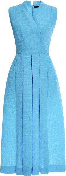 Emilia Wickstead Jully Pleated Cloquã Midi Dress in Blue - Lyst