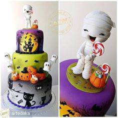 Who said Halloween has to be scary? 👻Love this cute monster cake by 🎂 Spooky Halloween Cakes, Halloween Torte, Pasteles Halloween, Bolo Halloween, Spooky Food, Halloween Baking, Fete Halloween, Halloween Goodies, Halloween Desserts