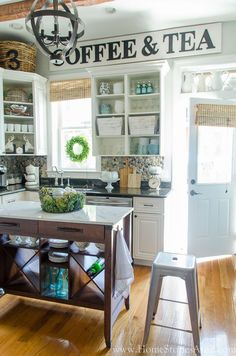 """Step by step tutorial on how to make a vintage kitchen sign for your kitchen. Get a farmhouse kitchen look for less with this """"antique"""" sign tutorial."""