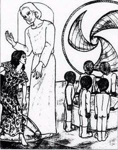"""Drawing by Betty Andreasson Luca of a tall white-haired being who greeted her during one of her many abductions. She called the beings """"Elders"""". Nearby are the small, grey android """"biobics""""."""
