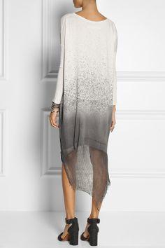 Raquel Allegra|Shredded spray-dye cotton-blend jersey dress|NET-A-PORTER.COM