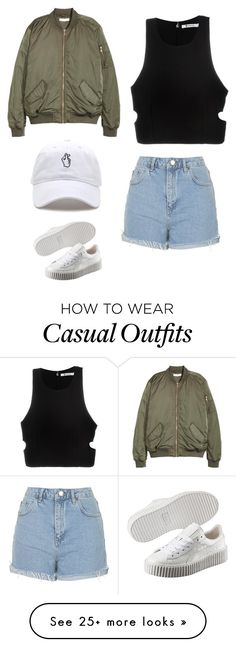 """Casual"" by kkumkkum on Polyvore featuring T By Alexander Wang, Topshop and Puma"