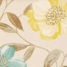 Honolulu Curtain Fabric In Duckegg. The flowers in this design are blue and yellow in colour with a pale blue/brown stems and leaves, all printed onto a natural background.