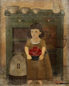 Naive style of early American folk art portrait. Farmhouse Girl, Americana Folkart. Print your own. Use to frame, card making, decoupage etc. You