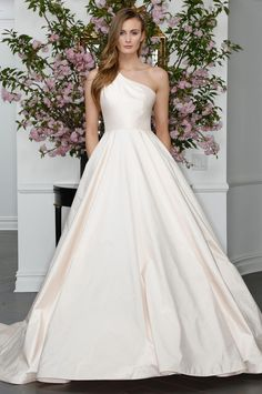 Legends by Romona Keveza one-shouldered blush ball gown wedding dress from Spring 2016